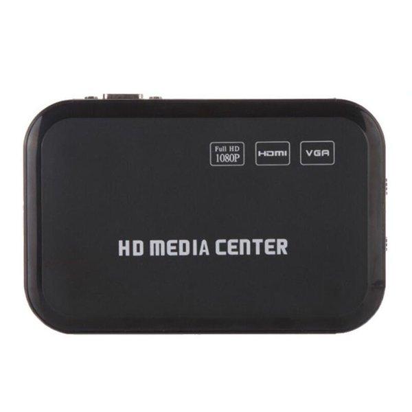 Mini Full HD 1080P Media Player with HDMI/VGA/AV/USB/SD/MMC/Optical output - Black,Auto play function when power on.