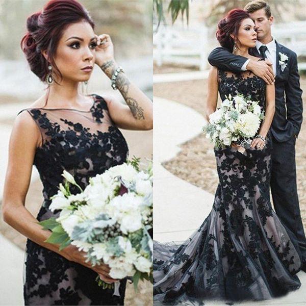 Vintage 2019 Black and Champagne Mermaid Abiti da sposa Gothic Sheer Neckline Lace Appliqued lunghi abiti da sposa su misura EN82415