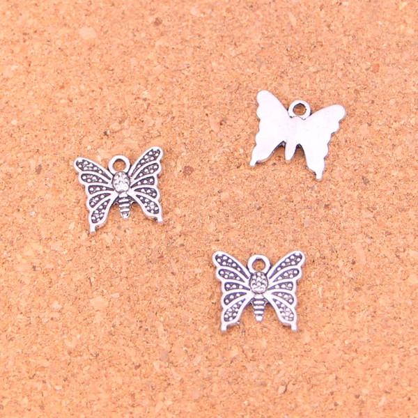 182 adet Antik gümüş Takılar kelebek Kolye Fit Bilezikler Kolye DIY Metal Takı Yapımı 15 * 14mm