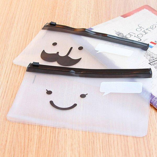 Wholesale-Smile Face Mustache Slider Zip Folder PVC File Clear Pencil Pen Bags Pencils Case for Exam Wholesale 1 Pc