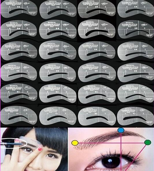 New Fashion Wholesale 24pcs/set Grooming Stencil MakeUp Shaping DIY Beauty Eyebrow Template Stencils Make up Tools Accessories