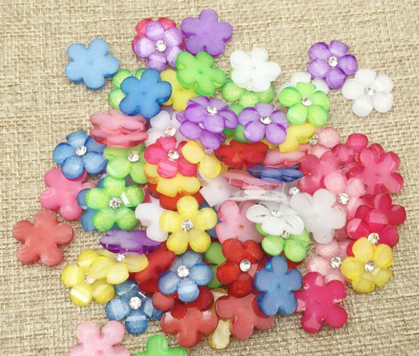 100pcs 15mm Resin Rhinestone Flower Bead Beads Button Flat back For Scrapbooking Craft DIY Hair Clip Accessories