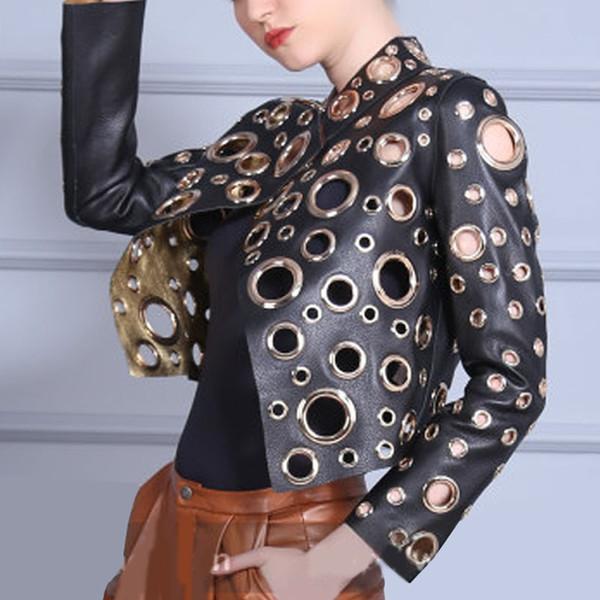 Fashion Cool Golden Leather Jacket Women Metal circle Moto Coat Punk Rock Faux Jacket jaquetas couro Casaco chaquetas Jacket