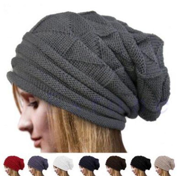 7 colores calientes al aire libre gorros moda invierno unisex caliente de punto sombrero de ganchillo cráneo Beanie Hat Caps CCA7269 20 unids