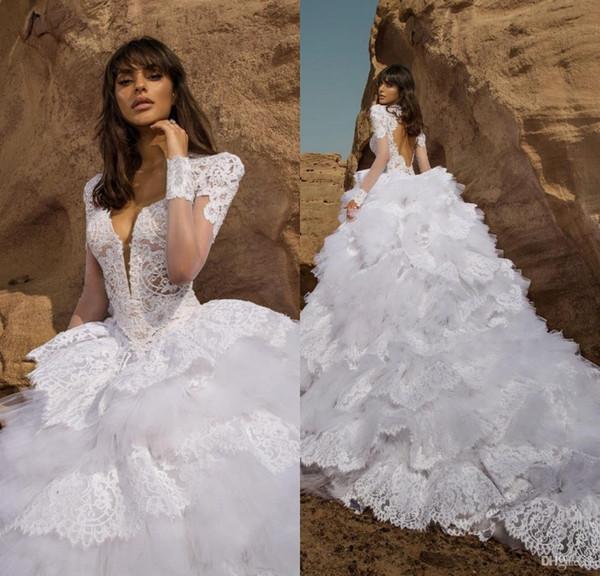 2019 Lace Branco vestido de Baile Vestidos de Casamento com Cristal Bordado Manga Curta Keyhole Voltar Ruffled Lace Tulle Vestidos de Noiva