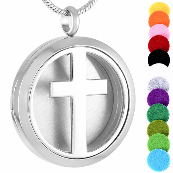 IJP0002 10PCS/lot 30mm Round cross Aromatherapy stainless steel Essential oil Diffuser Perfume locket pendant necklace, Free Pads
