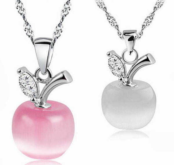 2017 New fashion Girl/Madam/woman Apple opal crystal necklace silver Moonstone pendant necklace white Pink green
