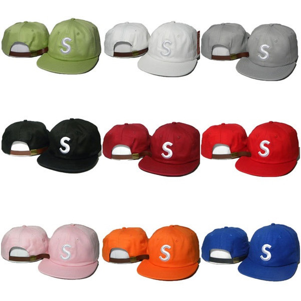 New Fashion Snapbacks Caps Letter S Hats Adjustable Superme Strapback Baseball Hip Hop Sports Cap 9 color Snap back Hat Cheap Sale