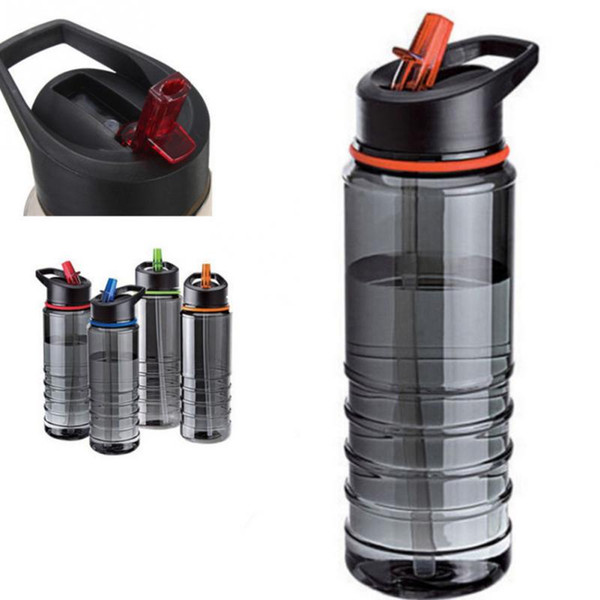 Wholesale- New Arrival Portable BPA Free Plastic Sport Bike Cycling Camping Hiking Picnic Water Bottle With Flip Straw