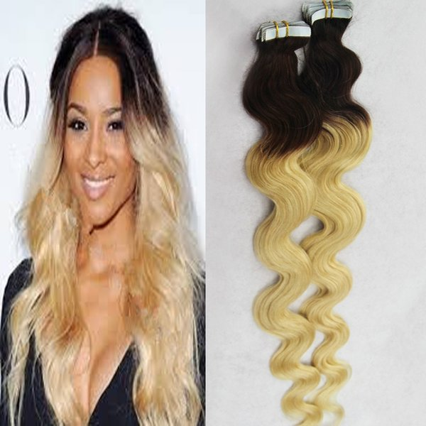 Ombre grade 8a brazilian virgin hair Body wave T1B/613 two tone ombre brazilian hair 40pcs/lot skin weft tape hair extensions
