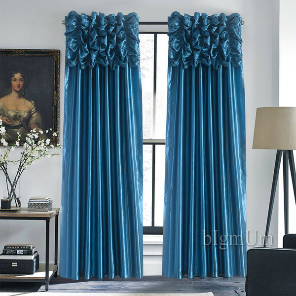 top popular Luxury Valance & Curtains for Window Customized Ready Made Window Treatment  Drapes For Living Room Bedroom Solid Color Panel 2020