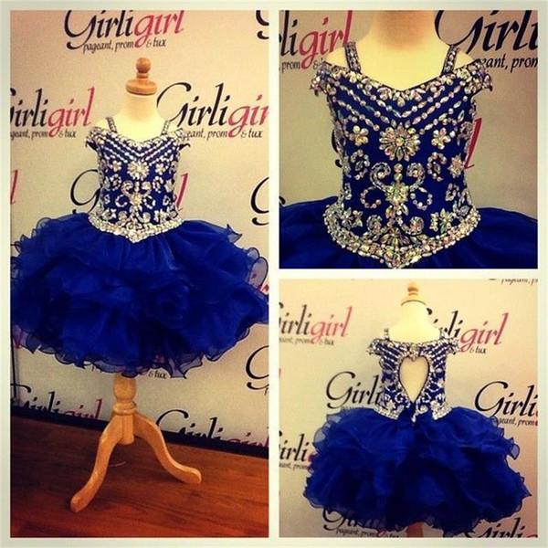 Lovely Royal Blue Crystals Girls Pageant Dresses 2016 Little Girls Ball Gowns Mini Ruffles Organza Cheap Princess Cupcake Ritzee Girl Dress