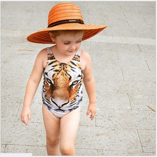 2016 New Summer Girls One-Pieces Tiger Printed Swimsuit Kids Swimwear Baby Girl Bathing Suits Children Swim Clothing For 80-110cm Retail