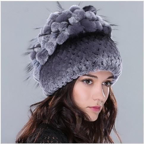 Winter Real fur hat for women rex rabbit fur hat with fox fur flowers stripe knitted beanies 2016 new Russia high quality hat