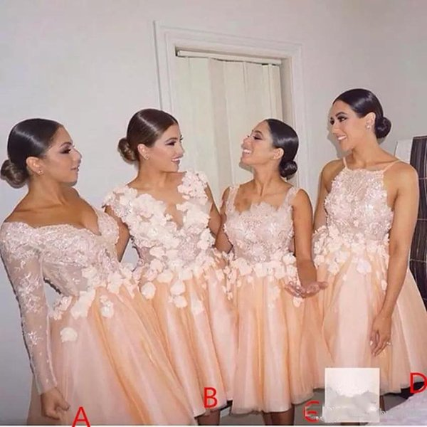 2017 Vintage Blush Lace Tulle Short Bridesmaid Dresses Mixed Style Knee Length Prom Party Graduation Gowns