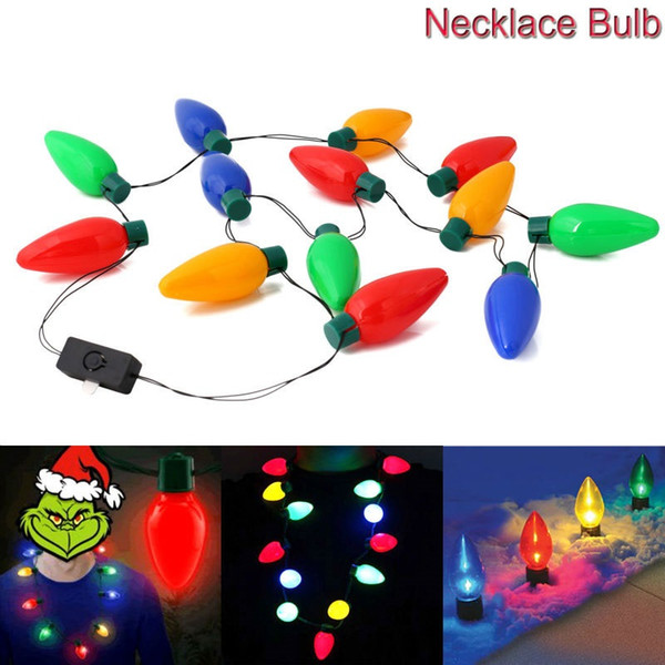 top popular Christmas Necklace LED Light Up Bulb Party Favors For Adults Or Kids As A New Year Gift 2019