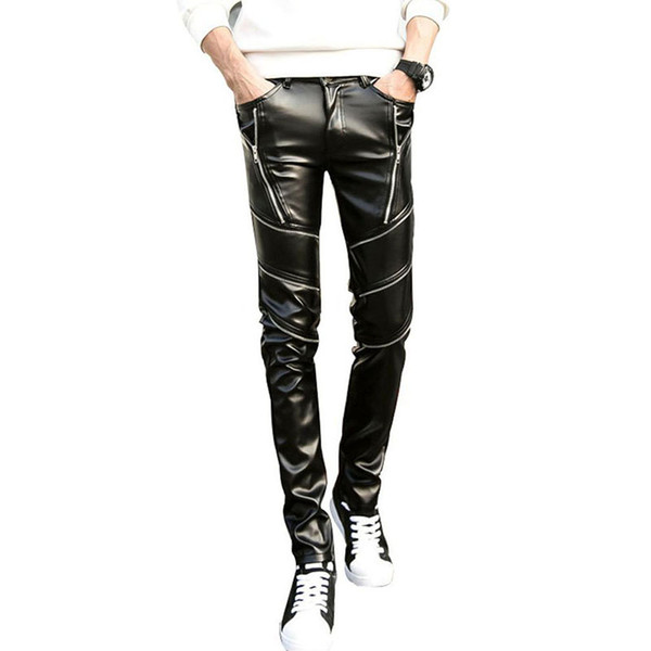 Wholesale-DJ Swag Skinny Mens Faux Leather PU Tight Black Joggers Biker Pants For Men Boys With Zippers
