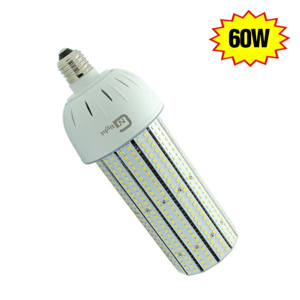 60W Fins Heat Sink 360 Degree Mogul Medium Base 2835 Chip Led Aluminum Pcb 120v 277v E40 Led Corn Light