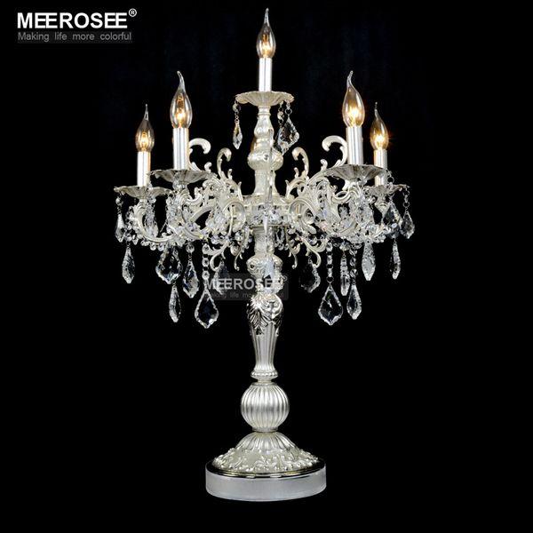 Vintage Silberfarbe Tischleuchte Luxuriöse klare Kristall Schreibtischlampe mit Hochzeit Kandelaber für Hotel Restaurant Schlafzimmer Beleuchtung