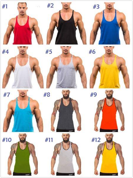 Factory direct sale ! 12 colors Cotton Stringer Bodybuilding Equipment Fitness Gym Tank Top shirt Solid Singlet Y Back Sport clothes Vest