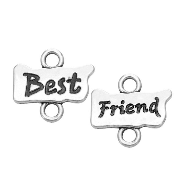 Unique design 25 Pairs a lot silver plated Best friend charm jewelry share with friend for gift