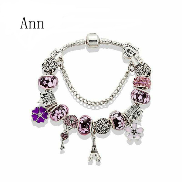 2017 The New popular 3 Colors Fashion style European Charm Beads Fits Charm bracelets Style Bracelets for women girl mix order free shippin