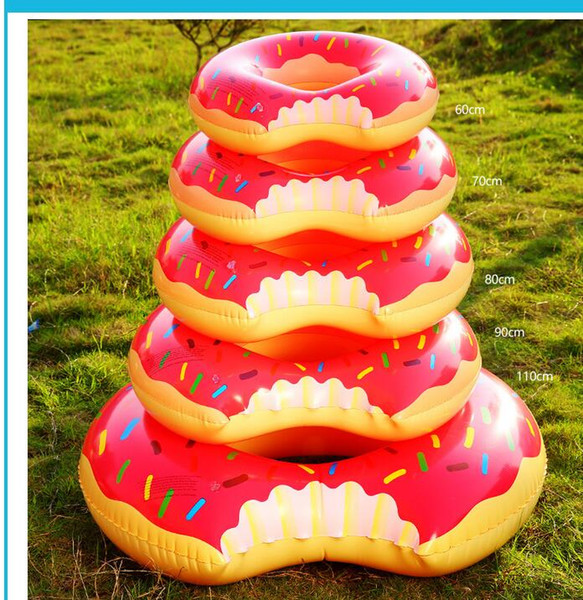 top popular 60-120cm Inflatable Toys Strawberry Donut Pool Floats Inflatable Donut Swim Ring Inflatable Floats Pool Toys Swimming Float Adult swim ring 2019