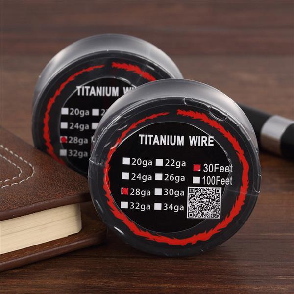 50pcs Titanium Wire Resistance 30 Feet TA1 Ti AWG 26g 28g 30g Gauge Coil Roll For Temp Control TC Vape Mod Electronic DHL