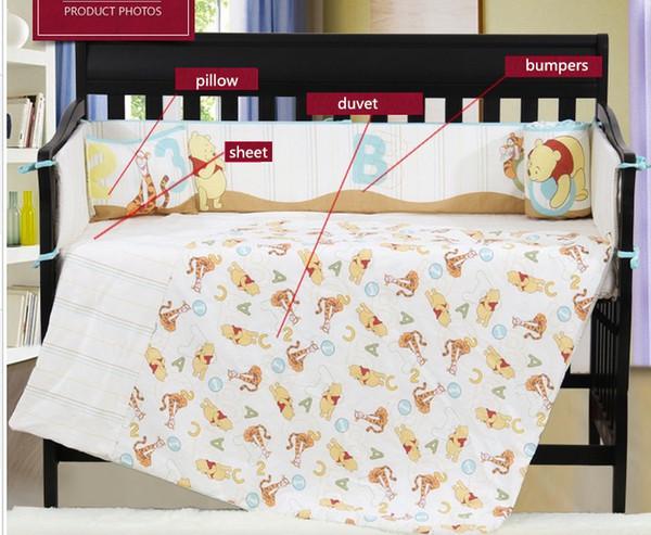 4PCS embroidered Baby crib bedding set 100% cotton crib bumper baby sheets ,include(bumper+duvet+sheet+pillow)