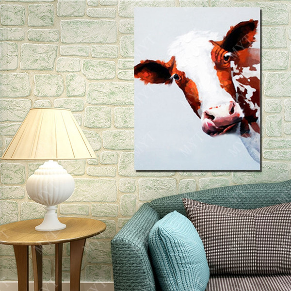 Netherlands cow picture no wooden frame abstract canvas wall arts top quality animal subjects free shipping cow oil painting