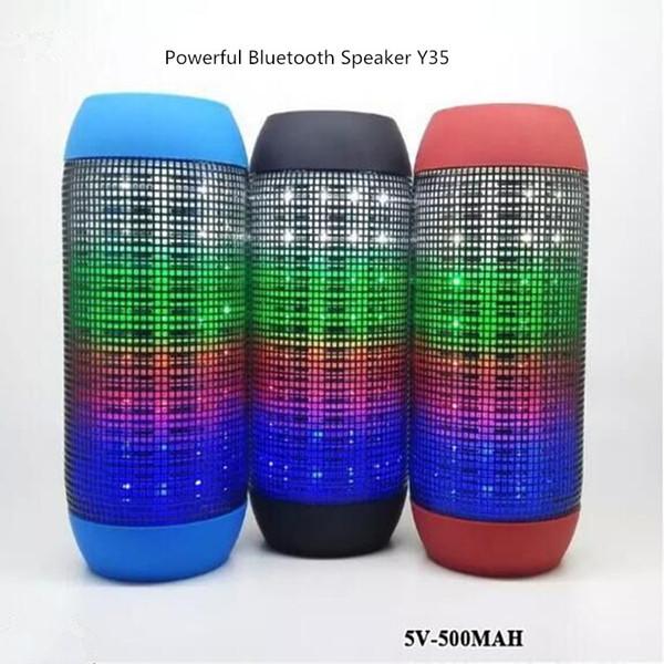 Beste tragbare Lautsprecher-Karte Y35 leuchtende pulsierende Musik drahtlose Lautsprecher U-Disk-Player LED Bluetooth-Stereo-Unterstützung Ipad Patio-Lautsprecher