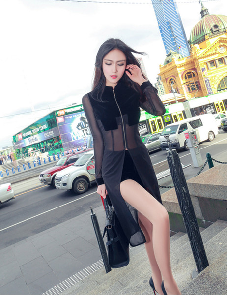 2017 O-neck Full Skirt Set Color Colorful Autumn Pants Suit New Sexy Mesh Stitching Perspective Long Shirts Shorts Two Piece