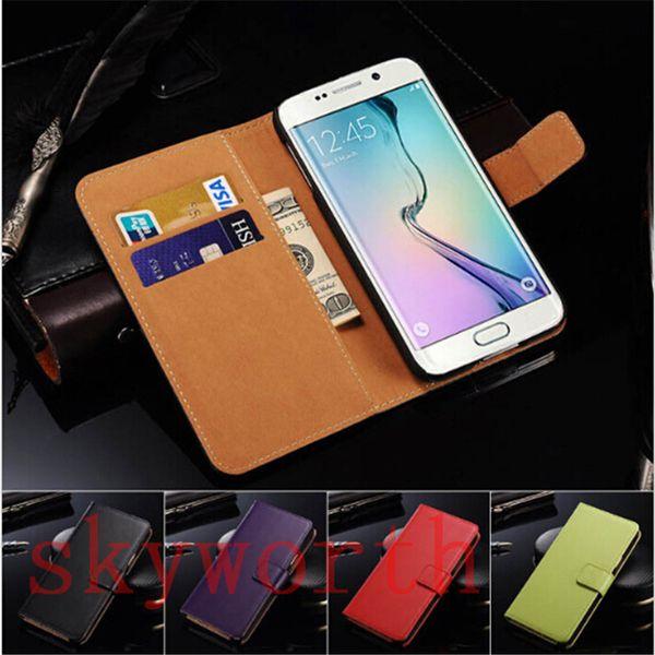 Iphone 8 için X 7 Artı 6 6 S Samsung Galaxy Not 8 S7 Kenar Artı S8 Hakiki Deri Cüzdan Flip Case Kart Tutucu