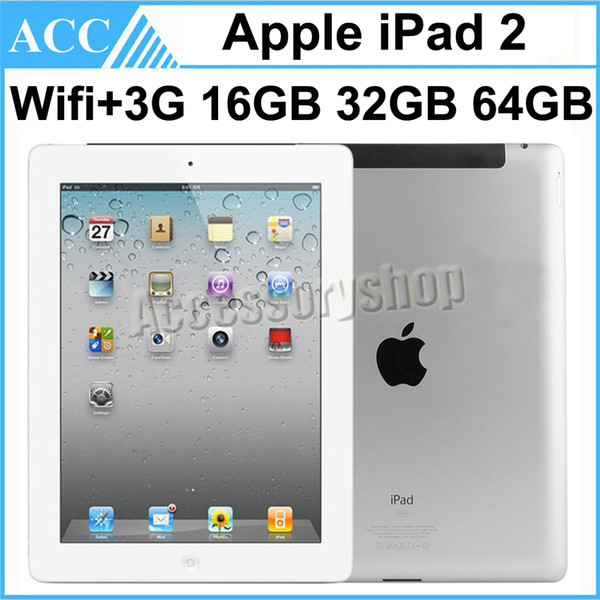 top popular Refurbished Original Apple iPad 2 WIFI + 3G Cellular 9.7 inch 16GB 32GB 64GB IOS Dual Core 1GHz A5 Chipset Tablet PC DHL 1pcs 2020