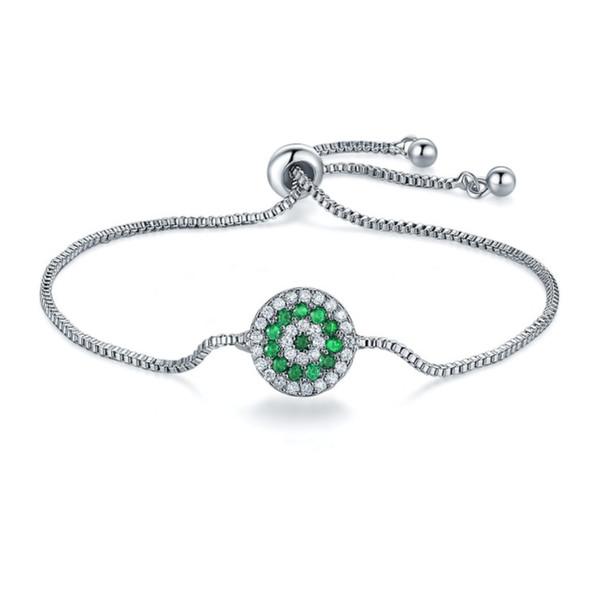 Sale 4Color Fashion jewelry 925 Silver crystal heart charm bracelet Crystals from Swarovski for women Pandora Wedding jewelry
