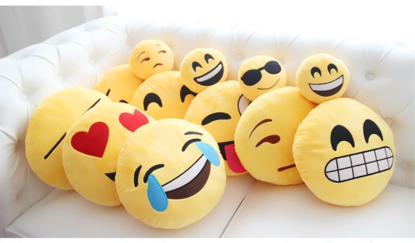 top popular Emoji pillows 40cm Diameter styles baby pillows Cushion Cute Lovely Emoji Smiley Pillows Cartoon Cushion Pillows Stuffed 2019