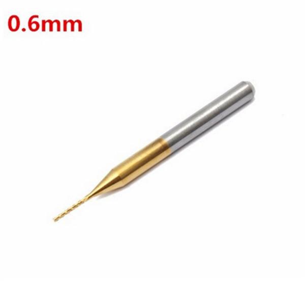 10pcs 0.6mm Tungsten Steel Titanium Coat Carbide End Mill Engraving Bits CNC PCB Rotary Burrs Milling Cutter Drill Bit Construction Tools