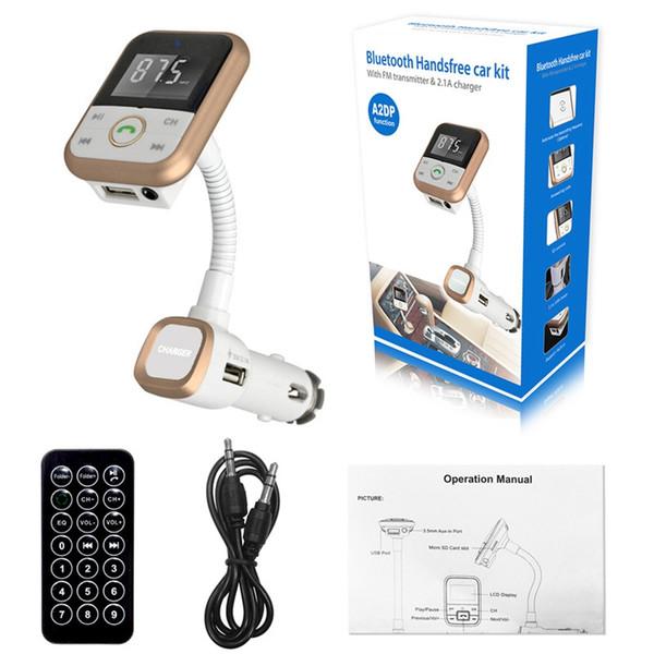 Trasmettitore FM per auto Modulatore per lettore MP3 Caricatore USB Kit per vivavoce per auto Bluetooth senza fili a distanza SD KF-A1057
