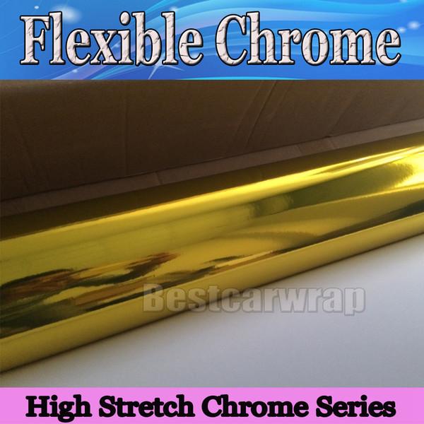 Envoltura de vinilo con revestimiento de vinilo de oro cromado de alto estiramiento Espejo de vehículo sin burbujas de aire Cubiertas de vehículos graphis 1.52 * 20M / Roll 4.98x66ft