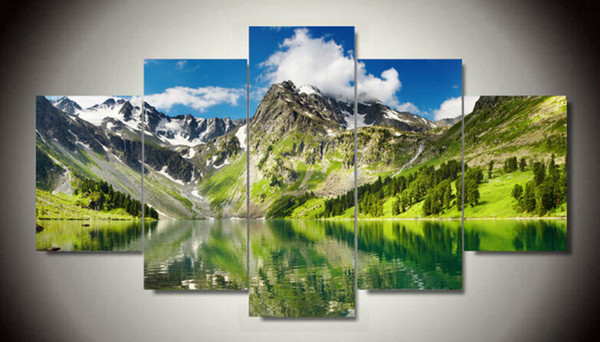 5 Piece White Cloud Snowy Green Lake Yellow Mountain Home Wall Decor Canvas Picture Art HD Print Painting 5 pcs/set