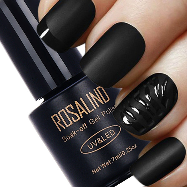 Vente en gros- ROSALIND Bouteille Noire 7 ML Mat Top Coat Gel Vernis À Ongles Nail Art Nail Gel Polonais UV LED Soak-Off Dull Surface givrée permanente