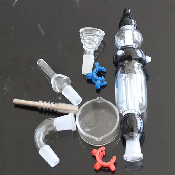 Nectar Collector 2.0 Kit avec bol en verre bombé GR 2 Plateau en verre à paille et miel de clou en titane et clou en quartz Clip en plastique de driptips