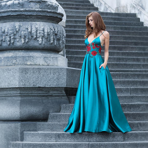 Spaghetti Straps A-Line Blue Satin Prom Dresses Long Deep V Front Embroidery Flowers Waist Sexy Evening Party Dresses with Pockets Backless