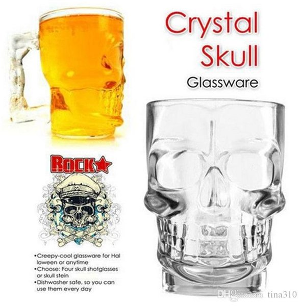 New Crystal Skull Head Vodka Shot Glass Beer Wine Milk Whisky Glasses Cup Drinking Ware Handle for Home Bar Party Creative Halloween 4020