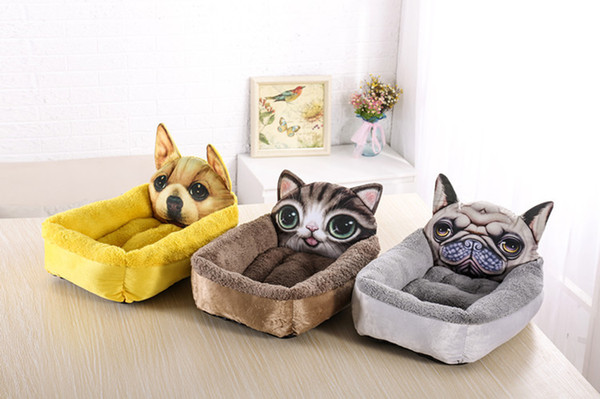 best selling PP Cotton Dog Bed Animal Cartoon Shaped Pet Dog Sofa Puppy House Flannel Kennel Cat Litter Dog Mats S LTwo Models
