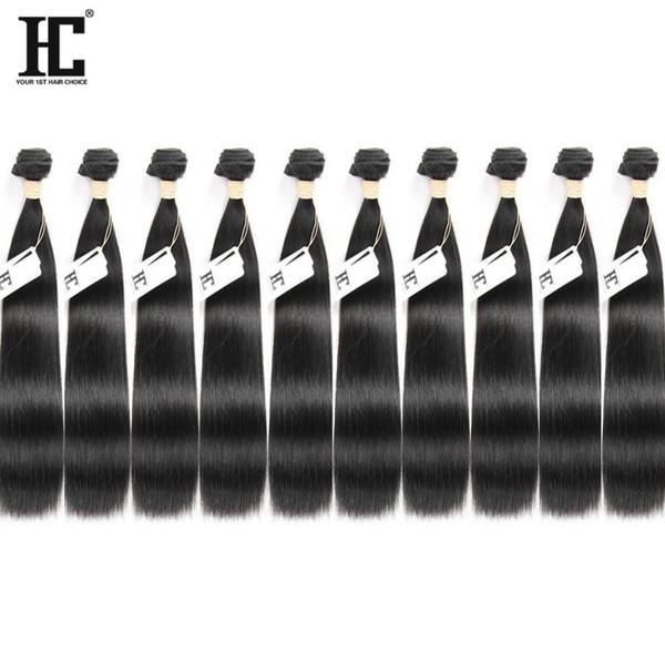 HC Saç Toptan Fiyat 10 Demetleri Vizon Brezilya Bakire Saç Düz% 100% İşlenmemiş İnsan Saç Uzantıları Makine Çift ...