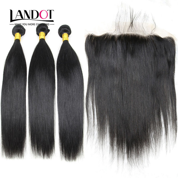 Lace Frontal Closures With 3 Bundles Brazilian Peruvian Indian Malaysian Cambodian Mongolian Straight Virgin Remy Human Hair Weaves Closure