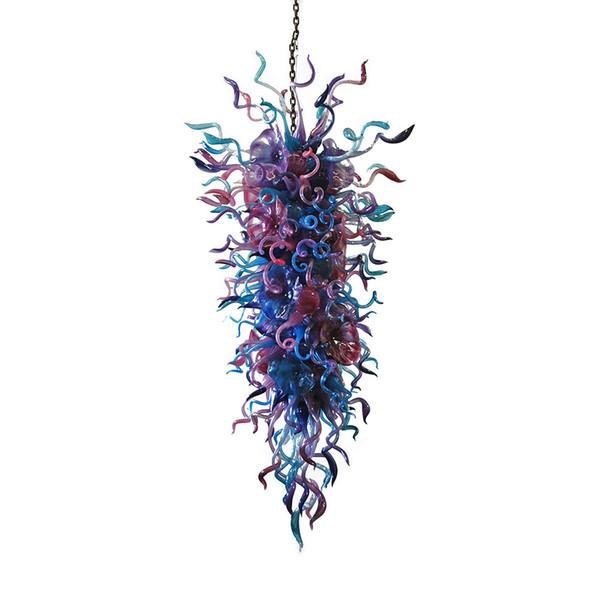 100% Handmade Blown Glass Modern Art Chandelier Light Long Size Colored Murano Glass LED Light Source AC 110V 240V Hotel Decor Chandelier