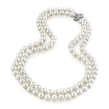 Hot sell double strands 9-10mm south seas white pearl necklace 18-20inch 925 silver clasp