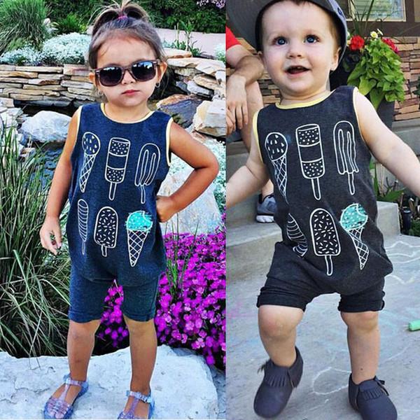 best selling 2016 Newborn Infant rompers Kids Baby Boy Girl Cotton Jumpsuit ice cream logo printed Bodysuit round collar children boys girls top Clothes